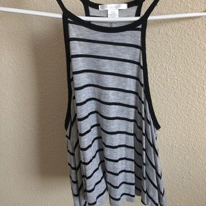 flowy grey and black striped tank top